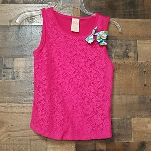 Faded Glory kids pink floral lace tank top XL